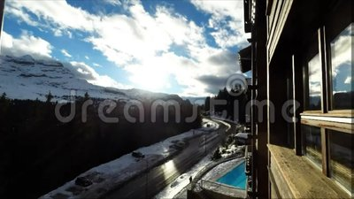 Time Lapse of a ski resort Flaine in the French Alps, stock video footage