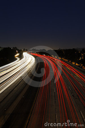 Time Lapse of Traffic at Dusk on the 5 Freeway in