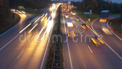 Time lapse of traffic at highway stock video