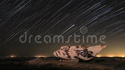 Time Laptop Star Trails in externe locatie stock footage