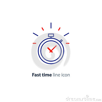 Time limit concept, fast delivery services linear icon, ringing timer Vector Illustration