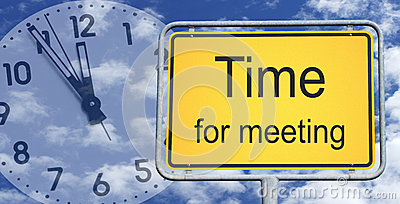 Time for meeting sign and clock