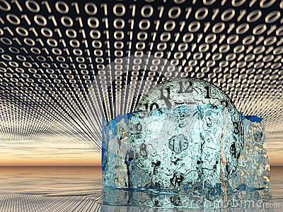 Time in melting ice with binary code