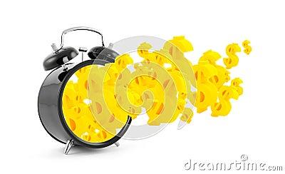Time is money. Alarm clock with dollar symbols