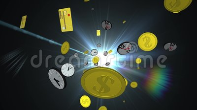 Time is money concept. 3D scene of time and money objects in space with flare on background royalty free illustration