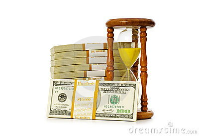 Time is money concept with dollars
