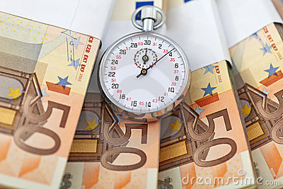 Time is money concept with euros