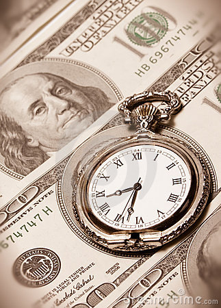 Time and money concept image - pocket watch and US