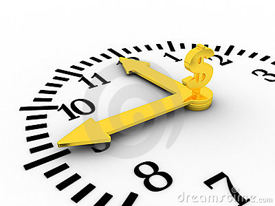 Time is money. Golen clock with dollar sing on it.