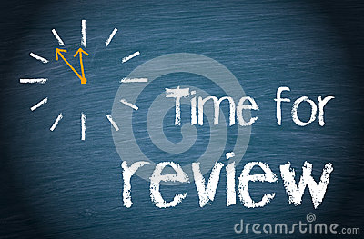 Time for Review Words and Clock Stock Photo