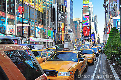 Time Square Traffic Editorial Image