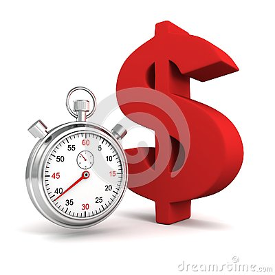 Time stopwatch with big red dollar symbol
