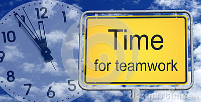 Time for teamwork sign