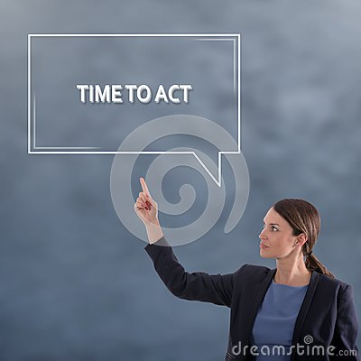 Free TIME TO ACT Business Concept. Business Woman Graphic Concept Stock Photo - 105726220