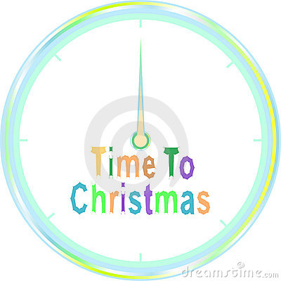 Time to christmas  clock isolated on white
