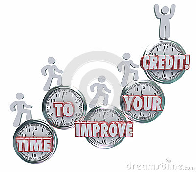Time to Improve Your Credit Borrowers Rising on Clocks Better Sc Stock Photo
