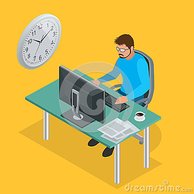 Free Time To Work Or Time Management Project Plan Schedule. Sand Clock Flat 3d Vector Isometric Illustration. Business Man Royalty Free Stock Photo - 72980505