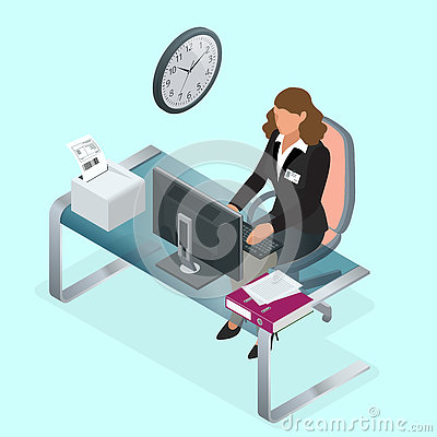 Free Time To Work Or Time Management Project Plan Schedule. Sand Clock Flat 3d Vector Isometric Illustration. Business Woman Stock Image - 72980161