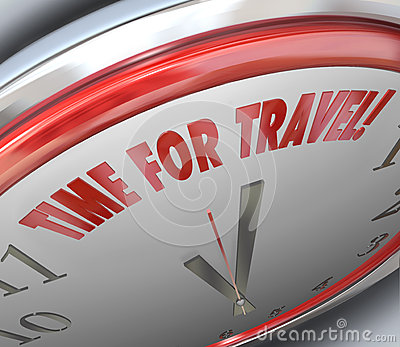 Time for Travel Words Clock Vactation Holiday Transportation