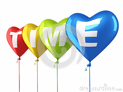 Time writing colorful heart balloons