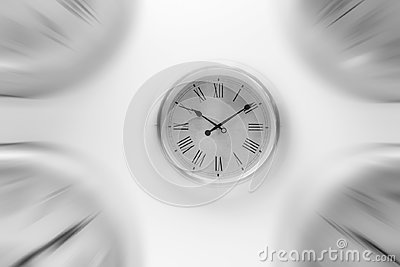 time with zoom motion blur moving pass focus fast speed business hour Stock Photo