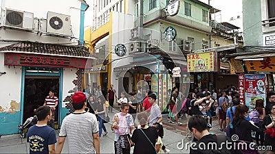 Timelapse σε παλαιό Taipa, Μακάο με τη Starbucks απόθεμα βίντεο