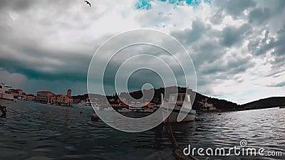 Timelapse της θάλασσας, των βαρκών και των νησιών Tisno, Κροατία απόθεμα βίντεο