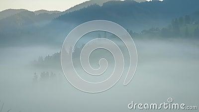Timelapse ландшафта горы покрытое туманом акции видеоматериалы