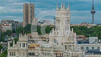 Timelapse Мадрида, красивый вид с воздуха comunicaciones Palacio столба Мадрида, Площадь de Cibeles панорамы, дворец Cibeles сток-видео