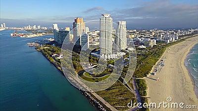 Timelapse aerial flyaway of Miami Beach. Flying away from Miami Beach timelapse aerial video