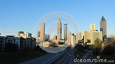 Timelapse of Atlanta, Georgia, United States skyline at sunset 4K. A Timelapse of Atlanta, Georgia, United States skyline at sunset 4K stock footage