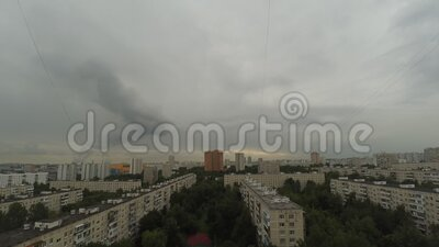 Timelapse. City view on esidential area of Moscow. Summer, cloudy. City view. Residential area of Moscow summer, cloudy. Timelapse stock footage