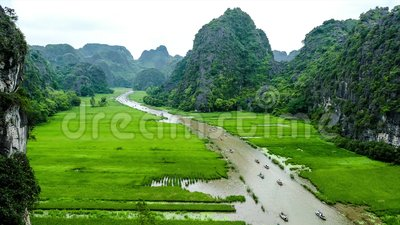 Timelapse clip of Tam Coc Resort, Ninh Binh province, Vietnam. A short timelapse clip of Tam Coc in Ninh Binh province, Vietnam. This is a well-known tourist stock video