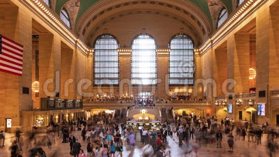 Timelapse crowd in Grand central Station in Manhattan New York USA. Timelapse of crowd in Grand central Station in Manhattan New York USA