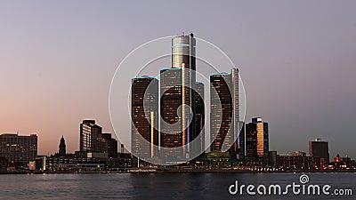 timelapse de nuit de 4K UltraHD de l'horizon de Detroit