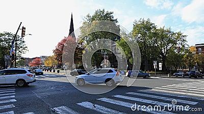 Timelapse del centro de ciudad en Northampton, Massachusetts 4K almacen de metraje de vídeo