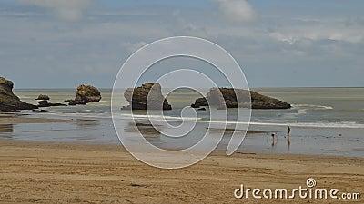 Timelapse delle famiglie che si rilassano alla spiaggia grande del flocculo a Biarritz, Aquitaine France, una stazione turistica  archivi video