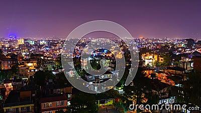 Timelapse of Kathmandu illuminated for Tihar Stock Photo