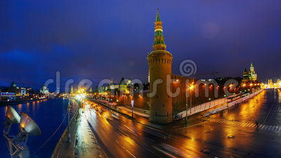 Timelapse of night city traffic near Kremlin wall and towers at a sunset, Moscow, Russia stock footage