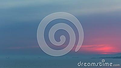 Timelapse piękny zmierzch nad morze krajobrazem Żadny migotanie, żadny ptaki zdjęcie wideo