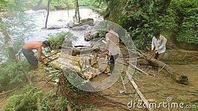 Timelapse Shot av infödda män som bygger en lotsning i Amazonas regnskog stock video