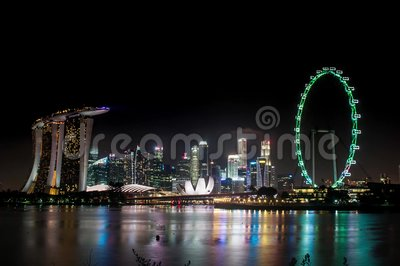 2017 01 01 timelapse of singapore skyline taken from garden by the bay south entrance stock footage video 83411916