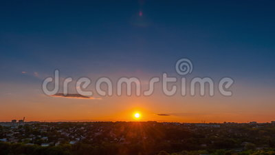 The timelapse of a sunset in Dnepropetrovsk, Ukraine stock footage
