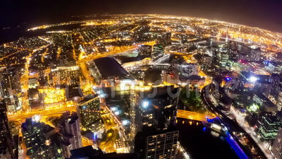 Timelapse video of Melbourne city at night, fisheye view. Camera revolving stock footage
