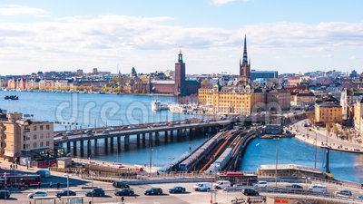Timelapse video of Stockholm cityscape in Sweden, Time lapse 4k stock video footage