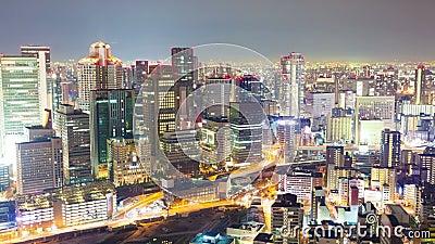 Timelapse-Video von Osaka in Japan nachts stock video footage
