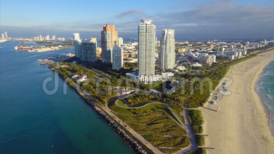 Timelapse von der Luftluftiges des Miami Beachs
