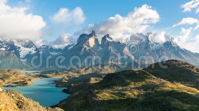 Timelapse widok Cuernos Del Paine przy Patagonia, Chile