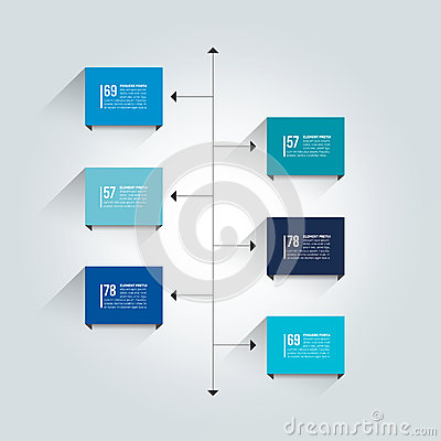 Free Timeline Report Template. Color Shadow Scheme, Diagram. Stock Photos - 69904993