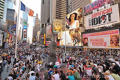 Times Square Crowd Editorial Stock Image